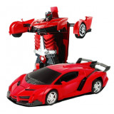 Jucarie Transformer 2in1, masina si robot, cu telecomanda, 22 cm, rosu, Gonga
