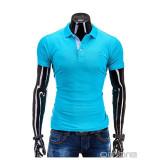 Tricou pentru barbati polo, turcoaz, simplu, logo piept, slim fit, casual - S594