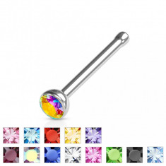 Piercing nas cu zircon mic - Diametru piercing: 0,8 mm, Culoare zirconiu piercing: Albastru - B