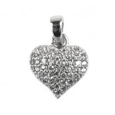 Pandantiv Inima cu Pietre, Argint 925, 1.5 cm x 1 cm