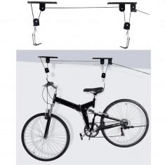 Suport bicicleta cu scripete, fixare tavan, otel, capacitate 20 kg, negru