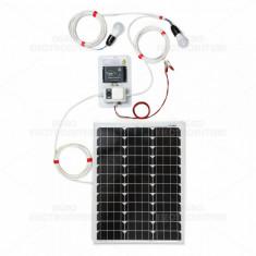 Sistem de iluminat solar 50W cu 2 becuri