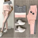 Cumpara ieftin Trening dama ieftin roz cu gri compus din pantaloni lungi si bluza cu maneca scurta cu dungi Alice