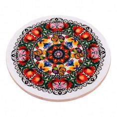 Platou rotativ din lemn cu motive traditionale, platou servire, Diametru 35 cm
