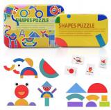 Cumpara ieftin Puzzle Shapes, jucarie educativa puzzle forme geometrice din lemn