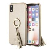 Husa Guess GUHCI61RSSABE iPhone XR Beige Saffiano cu ring stand