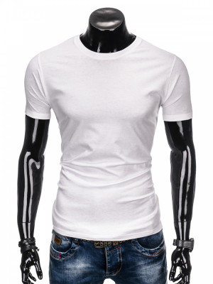 Tricou de barbati, alb simplu, slim fit, mulat pe corp, bumbac - S884 foto