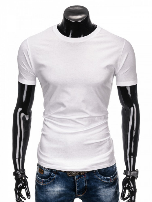 Tricou de barbati, alb simplu, slim fit, mulat pe corp, bumbac - S884