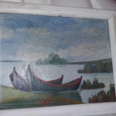 Tablou vechi pictat pe panza cu rama de pictorul I.RADU,Pictura veche,T.Gratuit, Marine, Ulei, Realism
