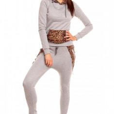 P563-18 Compleu format din pantaloni si bluza cu model animal print
