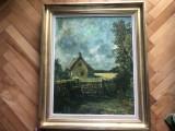Tablou,pictura veche belgiana,in ulei pe panza,peisaj