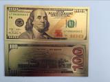 SUA/USA Bancnota 100 DOLLARS -  Bancnota noua  placata cu aur - COLOR