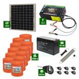 Pachet gard electric cu Panou solar 3,1J putere și 5500m Fir 90Kg cu acumulator