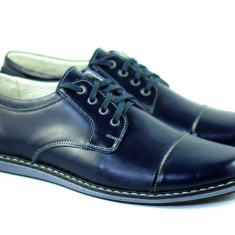 Pantofi barbati sport, casual din piele naturala, bleumarin inchis 338ELITEBLU