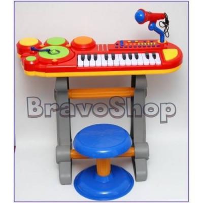 Orga cu scaunel, tobe si microfon / Orga de jucarie pentru copii BB69B DJ foto