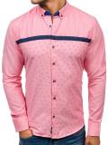 Cămașă pentru bărbat cu imprimeu decorativ și mâneca lungă roz Bolf 6903