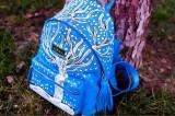 Rucsac dama din piele naturala pictat manual, albastru celin, R129X