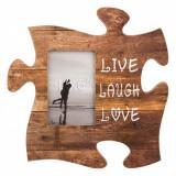 Tablita decorativa cu rama foto, model piesa puzzle, 30×30 cm , maro
