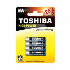 Set 4 baterii Toshiba High Power R3 ALK Blue Line AAA