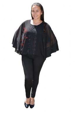 Bluza dama eleganta ,model cu flori din strasuri,nuanta de NEGRU foto