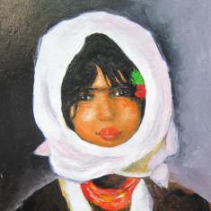 Tablou / Pictura portret de fata semnat Cimpoesu., Portrete, Ulei, Realism