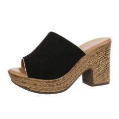 Papuci trendy, negri, cu platforma, 38, Negru
