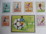 Serie bloc timbre fotbal sport Campionatul Mondial de Foltbal din Italia 1990