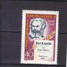 ROMANIA 1967 LP 661-100 ANI APARITIA LUCRARII CAPITALUL  KARL MARX  MNH