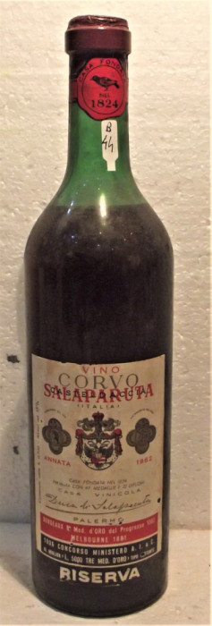 B 44 - VIN  rosu CORVO DI SALAPARUTA, recoltare 1962 cl 72 gr 13