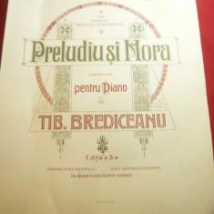 Tiberiu Brediceanu - Preludiu si Hora- pt.pian - Partitura , 7 pag.format mare