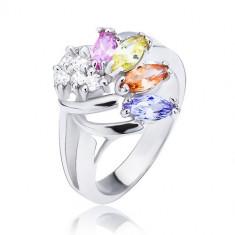 Inel lucios de culoare argintie, evantai realizat din zirconii colorate și transparente - Marime inel: 56