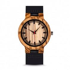 Ceas din lemn Bobo Bird zebra cu curea din piele, C21 Wooden Lux