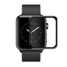Folie de protectie iUni pentru Smartwatch Apple Watch 38mm 3D Tempered Glass Negru