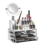 Cumpara ieftin Organizator cosmetice din acril cu oglinda