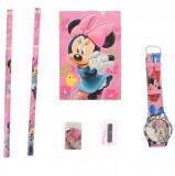 Set ceas, pentru copii, cu Minnie Mouse, caiet si rechizite cadou - 5020629