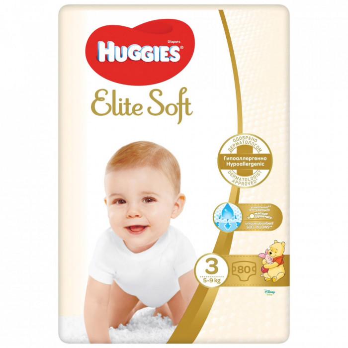 Scutece Huggies Elite Soft Nr.3, 5-9 kg, 80 buc