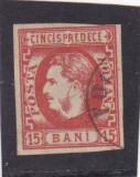 ROMANIA 1869  LP 27 CAROL I  FAVORITI   VAL. 15  BANI  ROSU  POINCON L. PASCANU