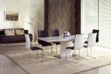 Set masa extensibila din MDF si metal Marcello White + 4 scaune K104 Black / White, L180-220xl90xH76 cm