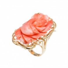 Inel din aur galen 14K cu coral, Trandafir, circumferinta 49 mm