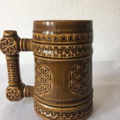 Halba ceramica veche romaneasca, anii 80, motiv popular etno, etnic, 500ml