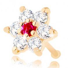Piercing de nas din aur galben de 14K - zirconiu și floare din rubin