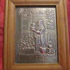 TABLOU ZINC IN RAMA DIN LEMN - IUBITORUL DE CACTUSI - CARL ZPITZWEG 23/29CM