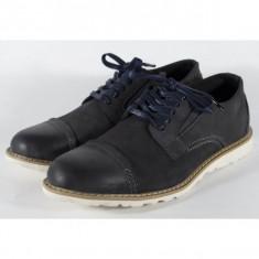 Pantofi bleumarin din piele naturala pentru barbati/barbatesti (cod 15-5942)