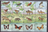47-GAMBIA 1991-Animale-pasari-animale-fluturi-bloc cu16 timbre nestampilate,MNH