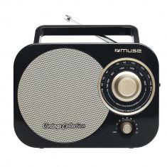 Radio portabil MUSE M-055 RB, Vintage, FM/MW, Boxa frontala, AUX-in, Negru