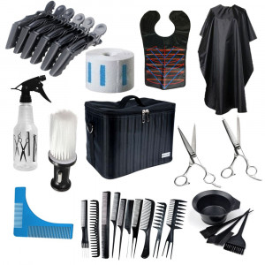 Set kit frizerie coafor foarfeca tuns filat pelerina vopsit piepteni geanta NEW