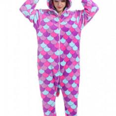 PJM147-10 Pijama pufoasa intreaga cu model unicorn multicolor