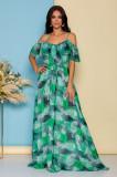 Rochie LaDonna by Catalin Botezatu lunga si vaporoasa cu imprimeu verde