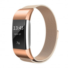Curea magnetica compatibila FitBit Charge 2, S, metalica, rose gold