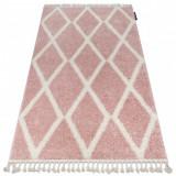 Covor Berber Troik A0010 roz si alb Franjuri shaggy, 70x300 cm